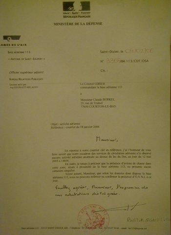 Lettre réponse du ministère de la Défense.